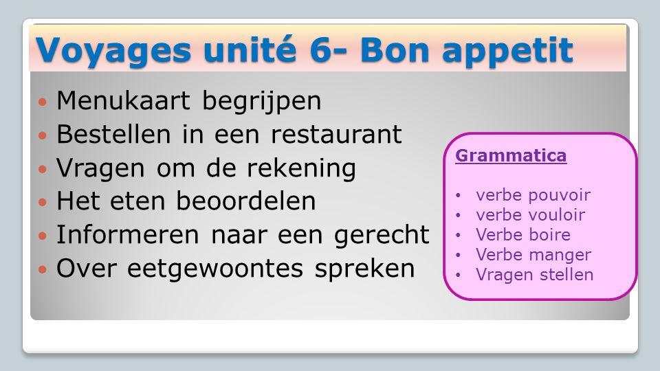 Voyages unité 6- Bon appetit