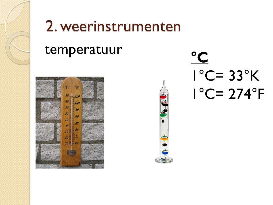 2. weerinstrumenten temperatuur °C 1°C= 33°K 1°C= 274°F