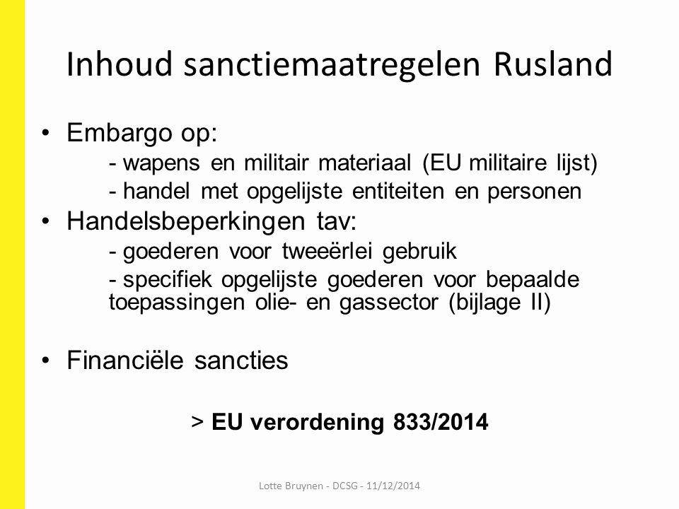 Inhoud sanctiemaatregelen Rusland