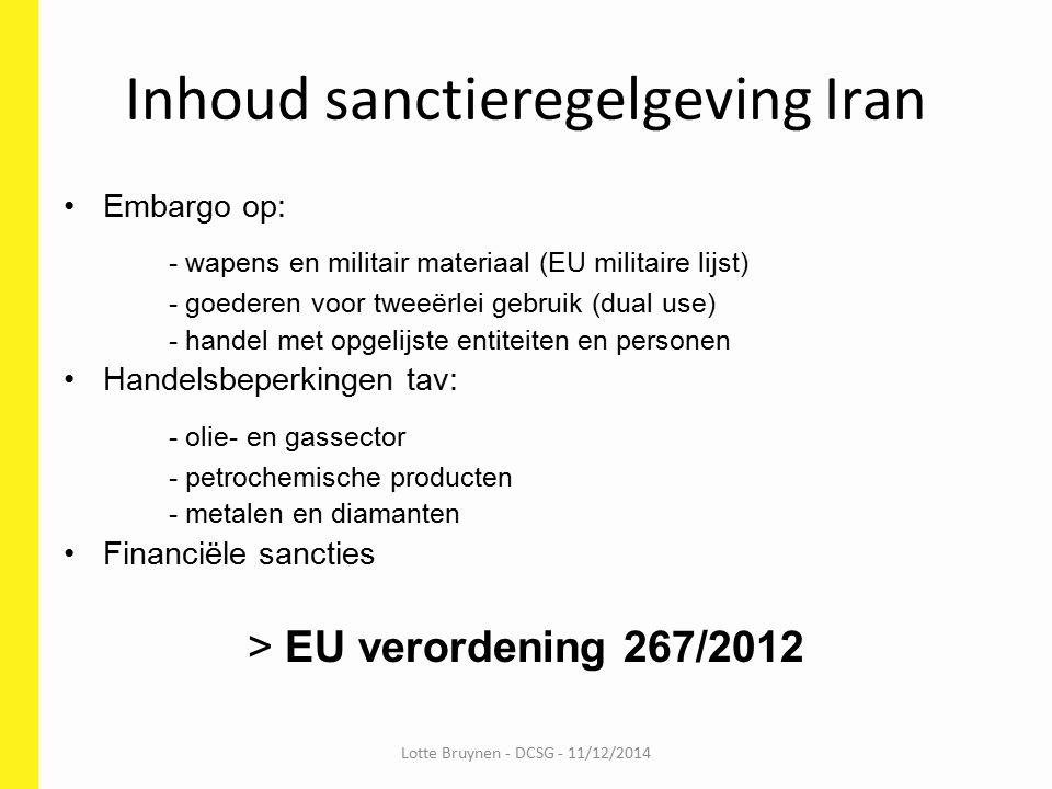 Inhoud sanctieregelgeving Iran