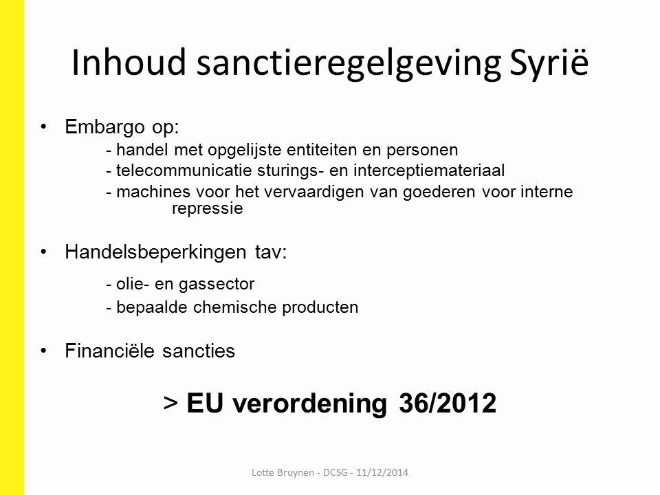 Inhoud sanctieregelgeving Syrië
