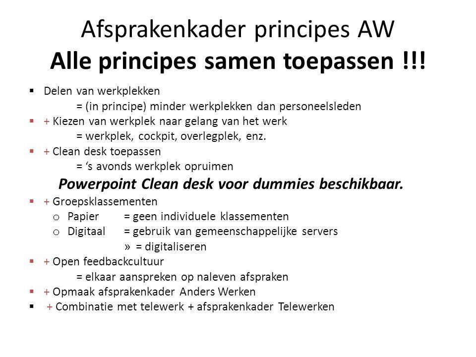 Afsprakenkader principes AW Alle principes samen toepassen !!!