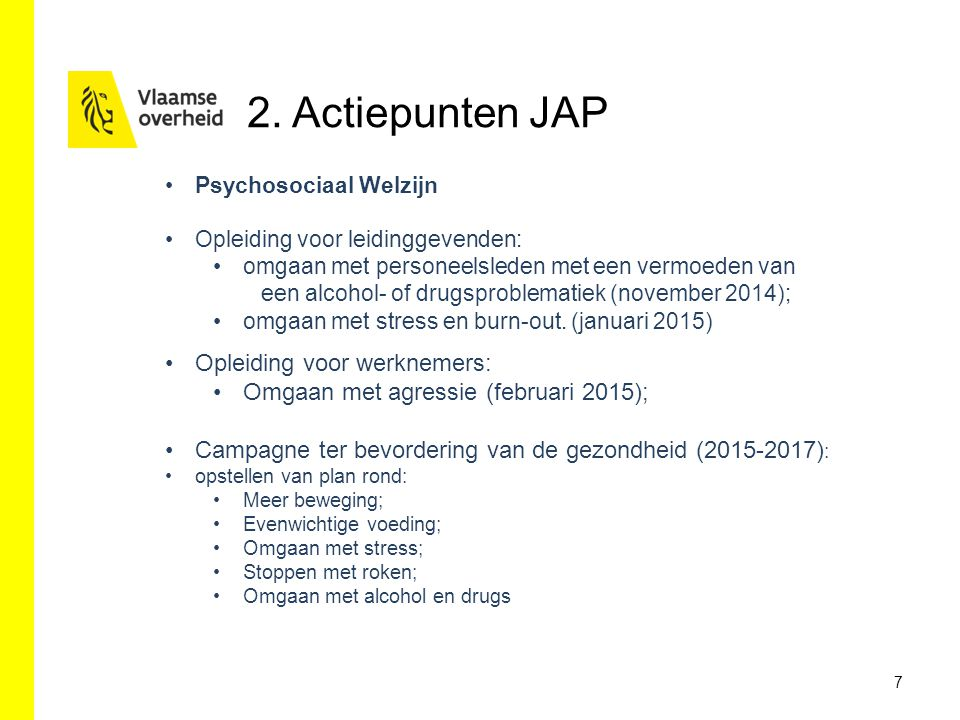 2. Actiepunten JAP Opleiding voor werknemers: