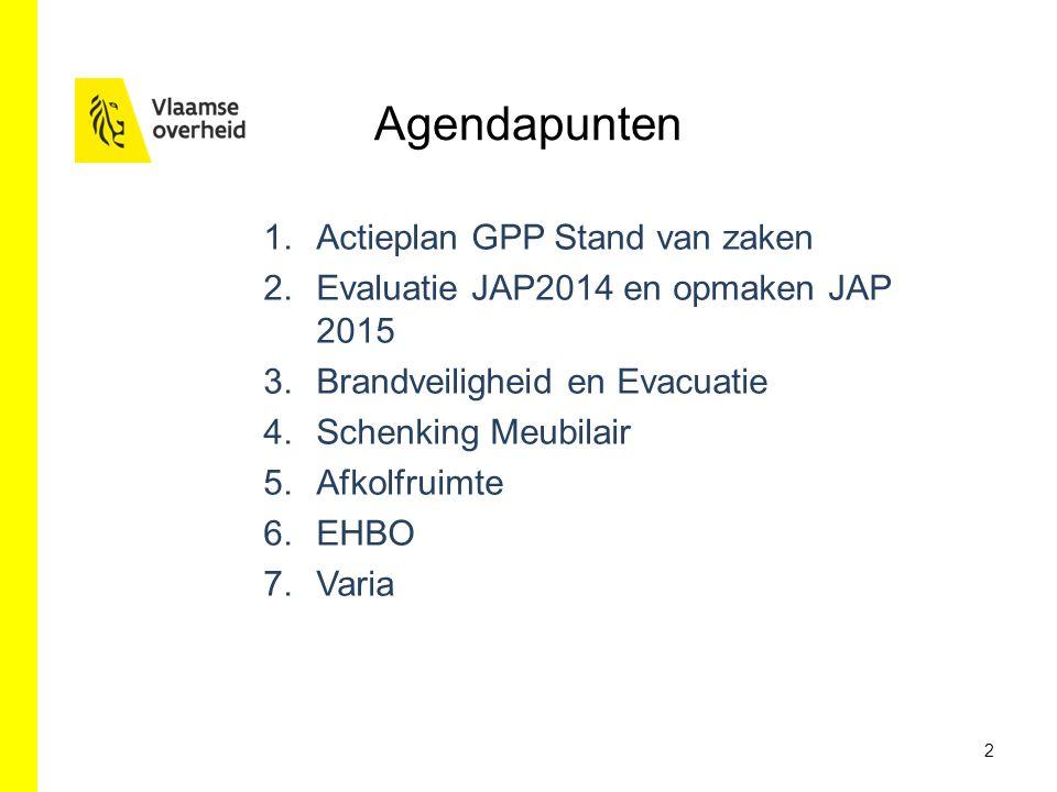 Agendapunten Actieplan GPP Stand van zaken