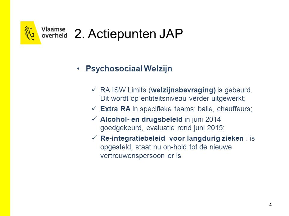 2. Actiepunten JAP Psychosociaal Welzijn