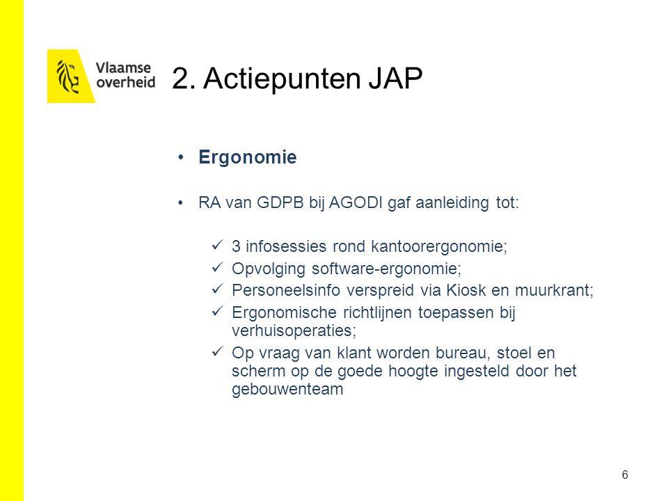 2. Actiepunten JAP Ergonomie RA van GDPB bij AGODI gaf aanleiding tot: