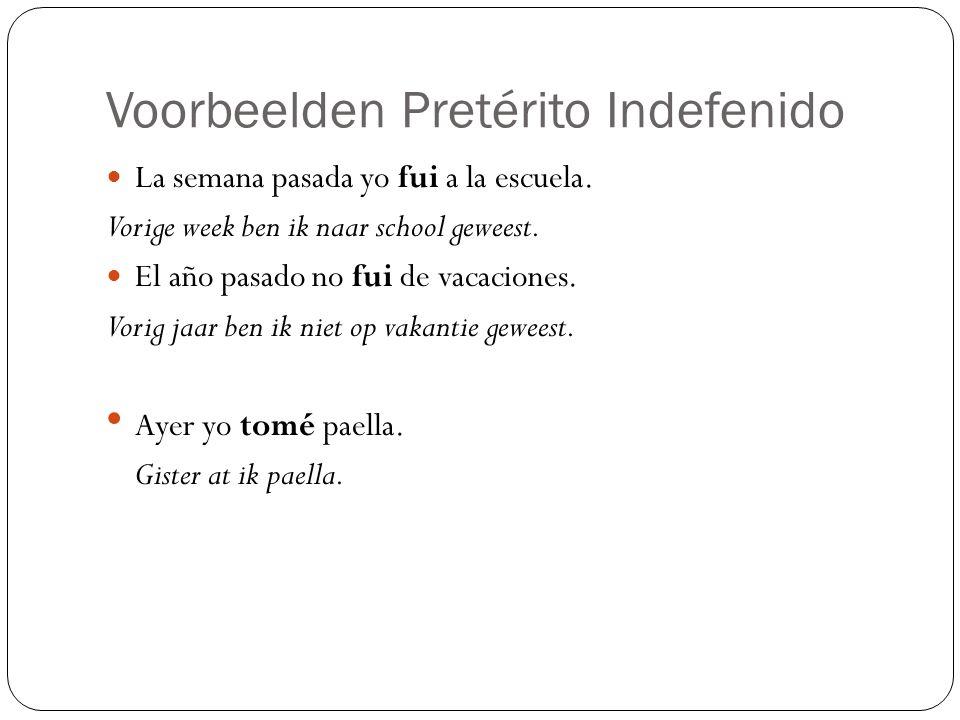 Voorbeelden Pretérito Indefenido