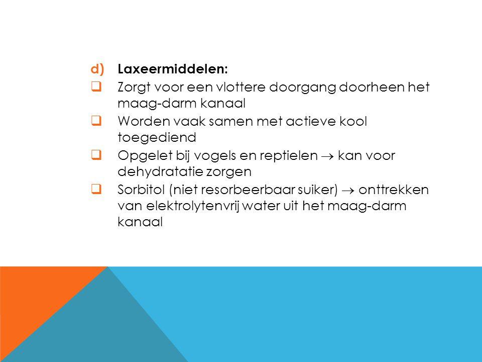 Laxeermiddelen: Zorgt voor een vlottere doorgang doorheen het maag-darm kanaal. Worden vaak samen met actieve kool toegediend.