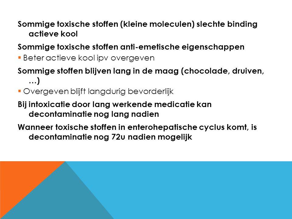 Sommige toxische stoffen (kleine moleculen) slechte binding actieve kool
