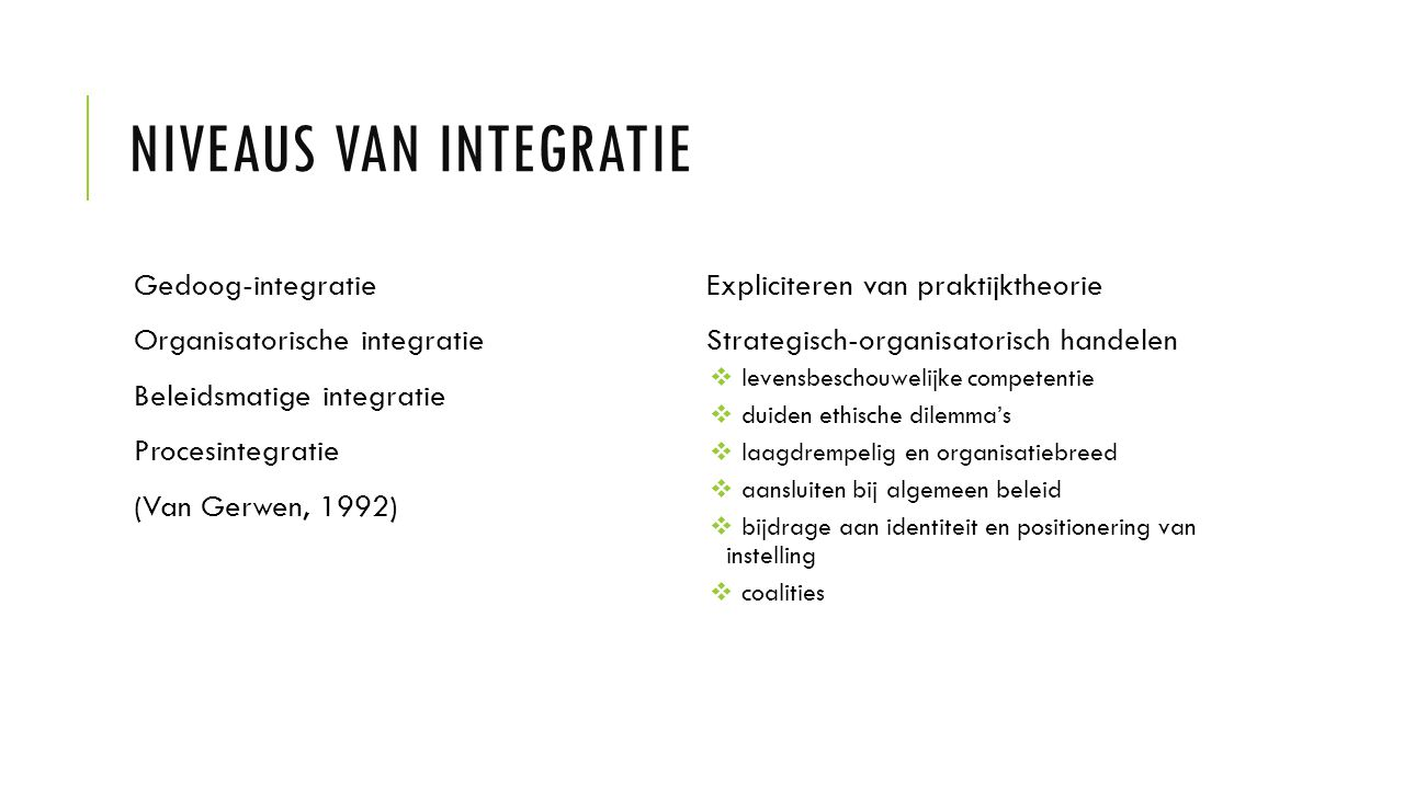Niveaus van integratie