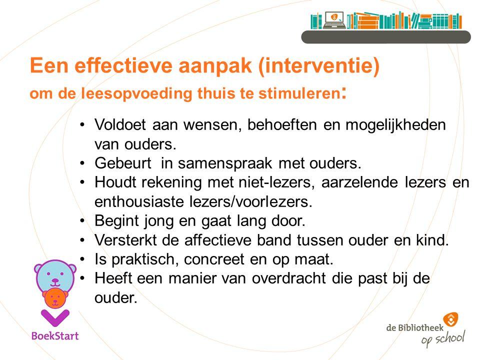Een effectieve aanpak (interventie) om de leesopvoeding thuis te stimuleren: