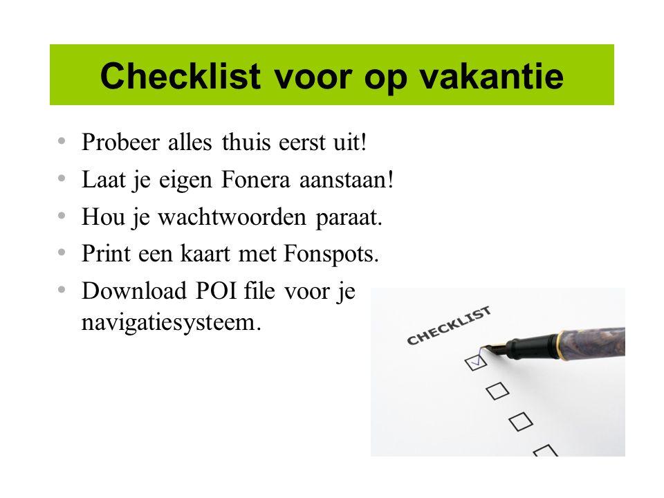 Checklist voor op vakantie