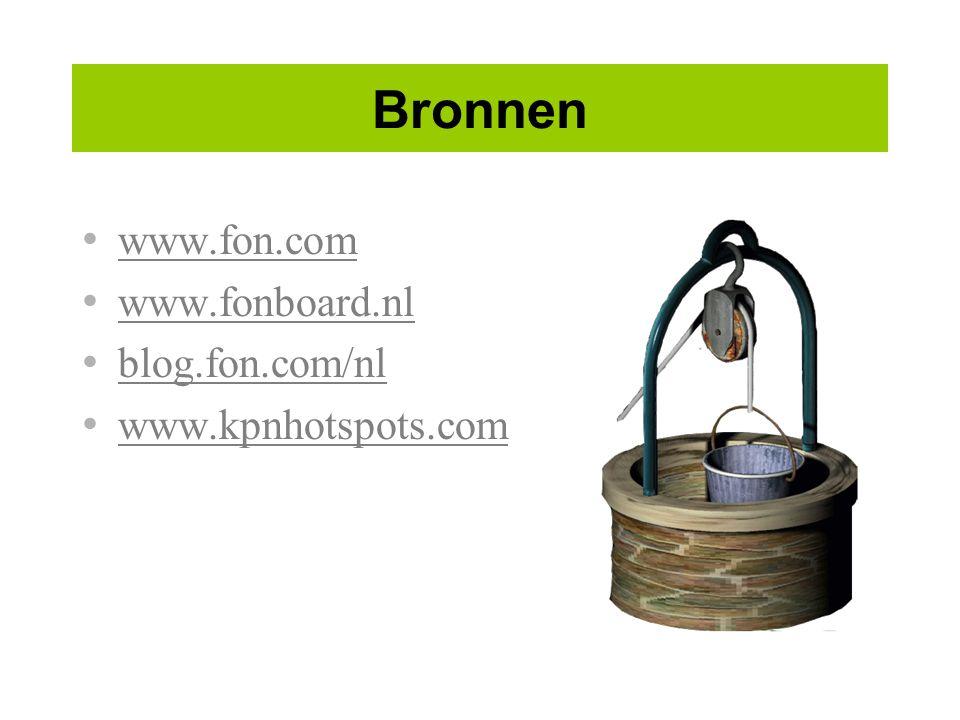 Bronnen www.fon.com www.fonboard.nl blog.fon.com/nl