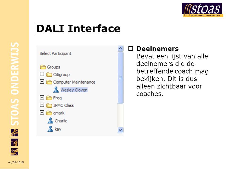 DALI Interface Deelnemers Bevat een lijst van alle deelnemers die de betreffende coach mag bekijken.