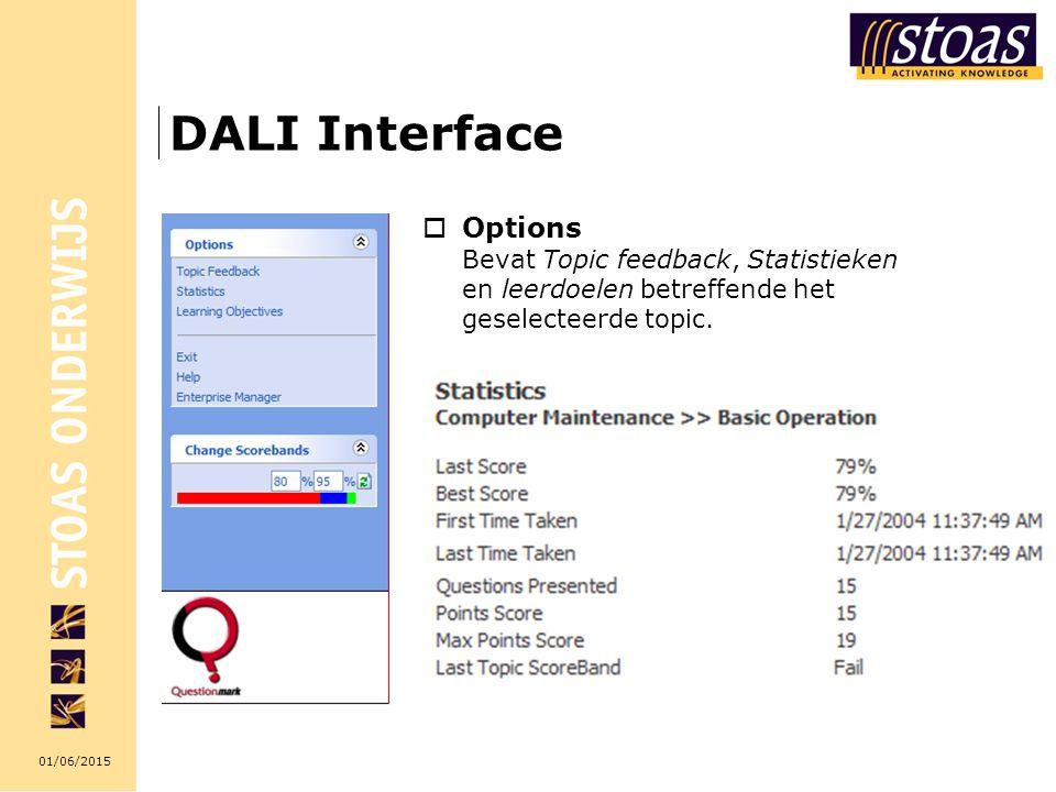 DALI Interface Options Bevat Topic feedback, Statistieken en leerdoelen betreffende het geselecteerde topic.