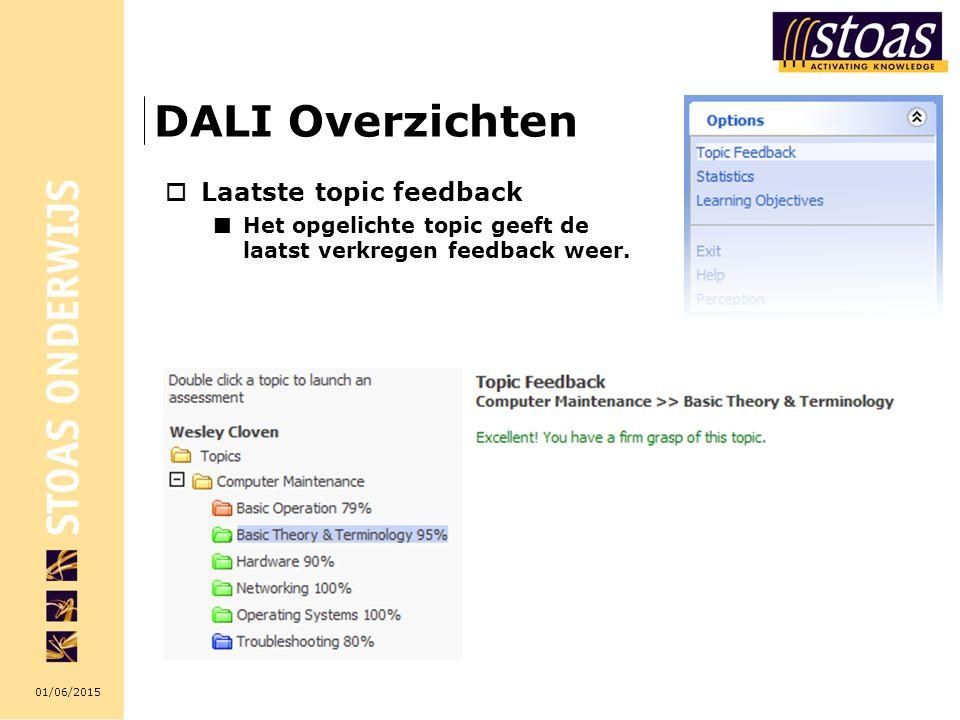 DALI Overzichten Laatste topic feedback