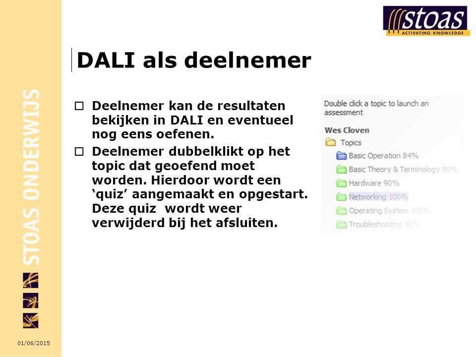 DALI als deelnemer Deelnemer kan de resultaten bekijken in DALI en eventueel nog eens oefenen.