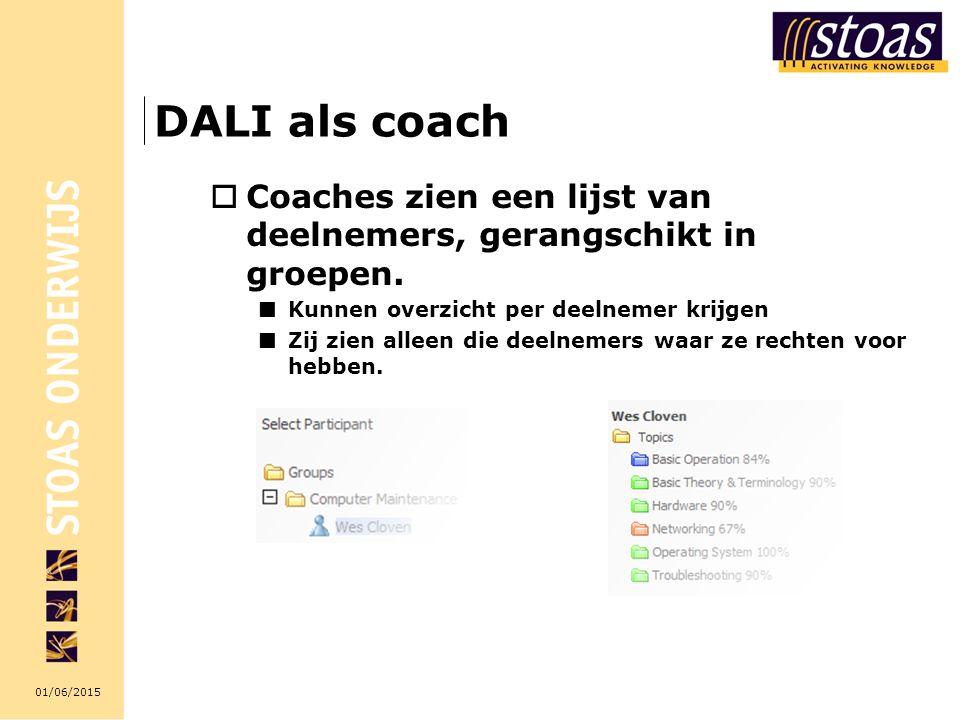 DALI als coach Coaches zien een lijst van deelnemers, gerangschikt in groepen. Kunnen overzicht per deelnemer krijgen.