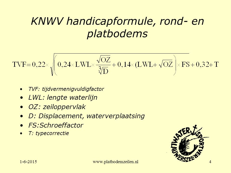 KNWV handicapformule, rond- en platbodems