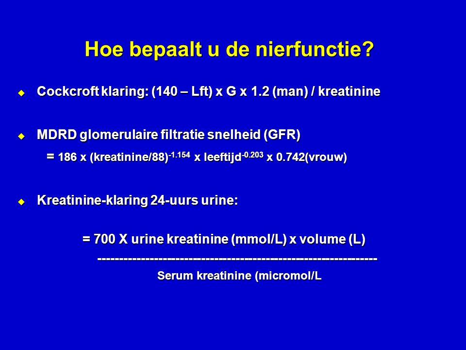 Hoe bepaalt u de nierfunctie