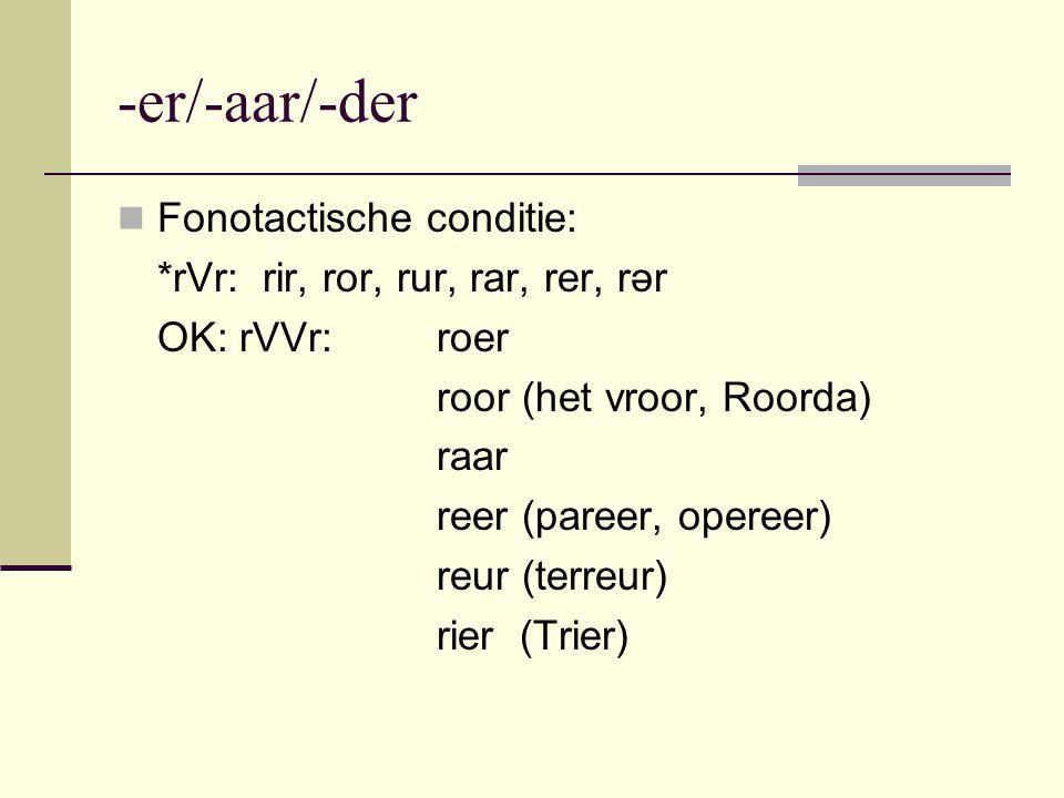 -er/-aar/-der Fonotactische conditie: