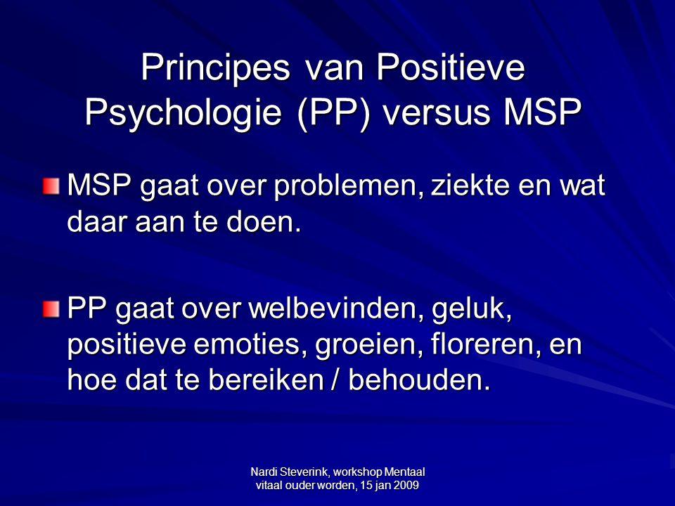 Principes van Positieve Psychologie (PP) versus MSP