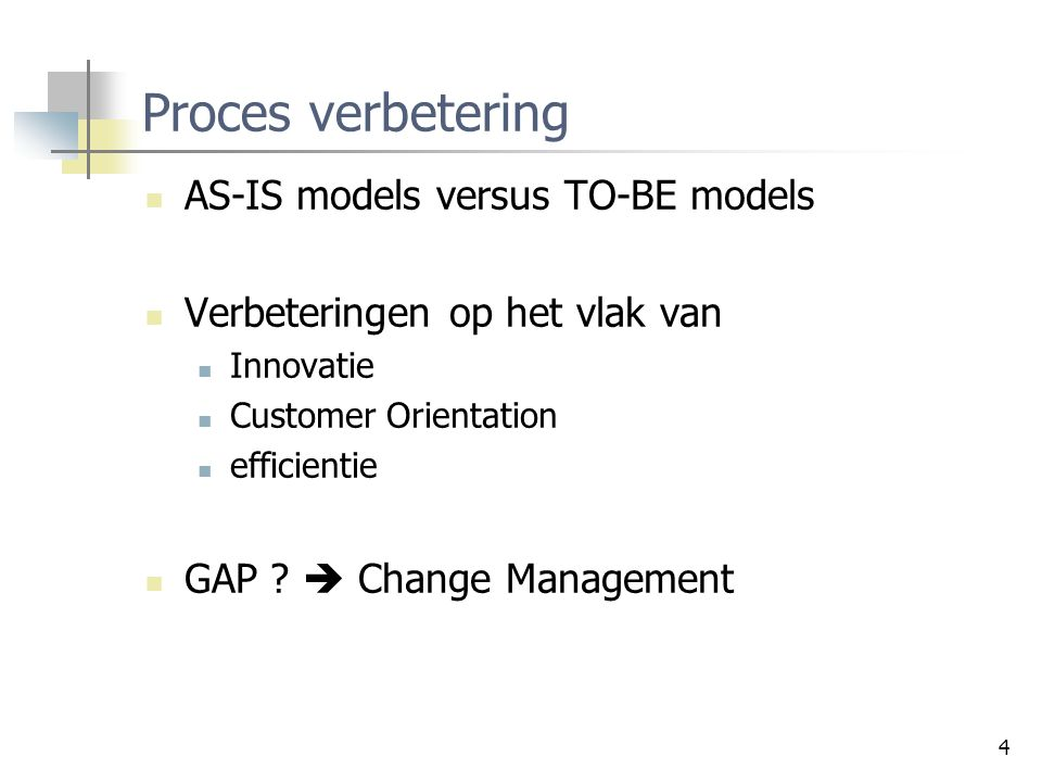 Proces verbetering AS-IS models versus TO-BE models