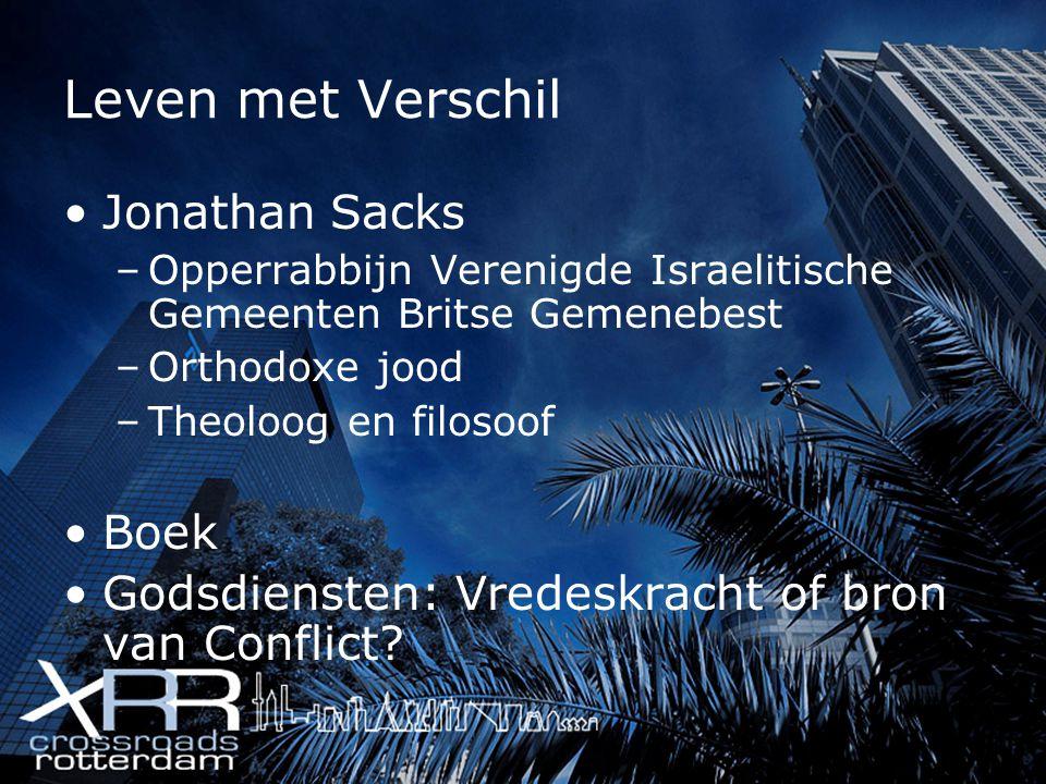 Leven met Verschil Jonathan Sacks Boek