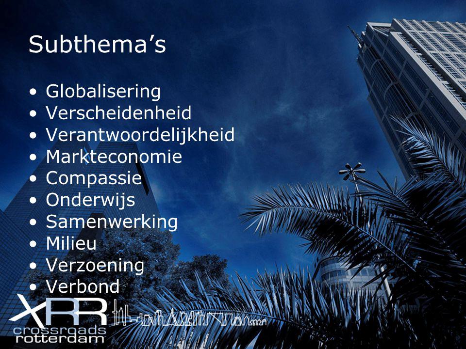 Subthema's Globalisering Verscheidenheid Verantwoordelijkheid