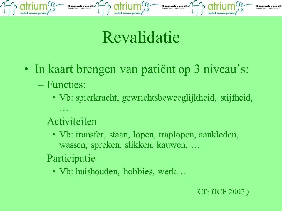 Revalidatie In kaart brengen van patiënt op 3 niveau's: Functies: