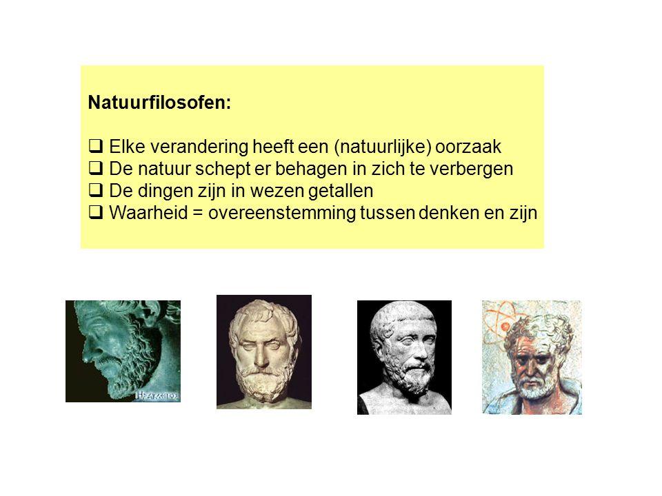 Natuurfilosofen: Elke verandering heeft een (natuurlijke) oorzaak. De natuur schept er behagen in zich te verbergen.