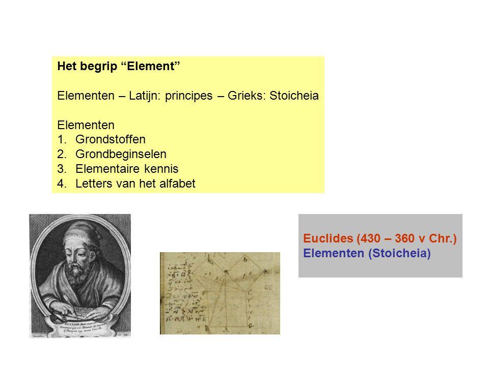 Het begrip Element Elementen – Latijn: principes – Grieks: Stoicheia. Elementen. Grondstoffen. Grondbeginselen.