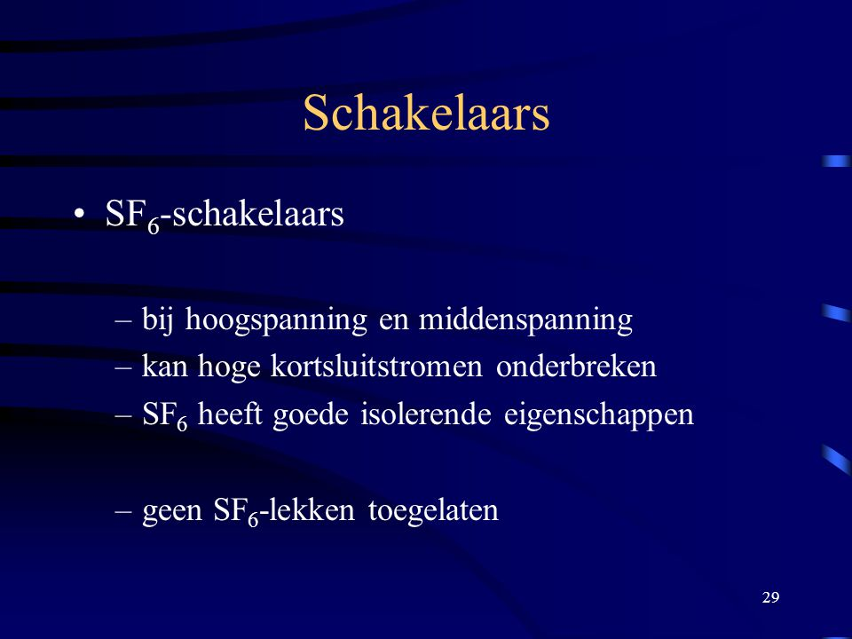 Schakelaars SF6-schakelaars bij hoogspanning en middenspanning