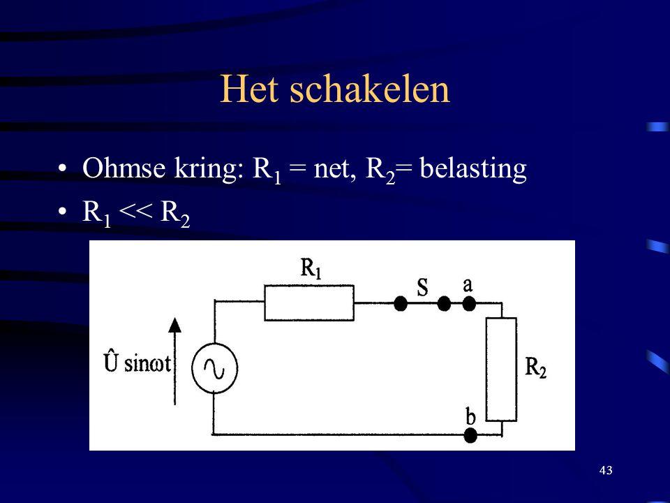 Het schakelen Ohmse kring: R1 = net, R2= belasting R1 << R2
