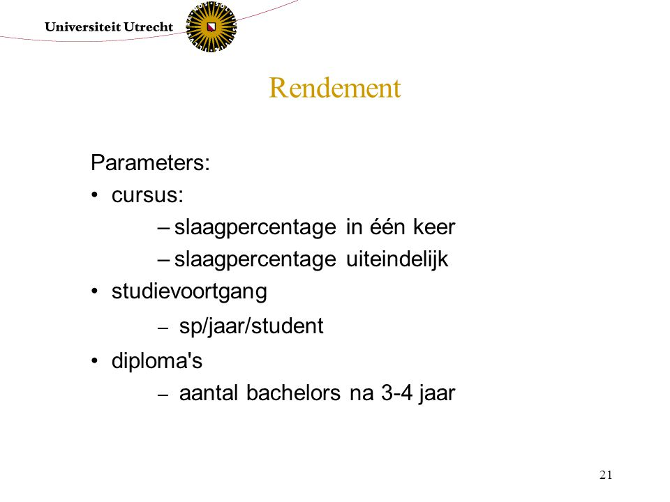 Rendement Parameters: cursus: slaagpercentage in één keer