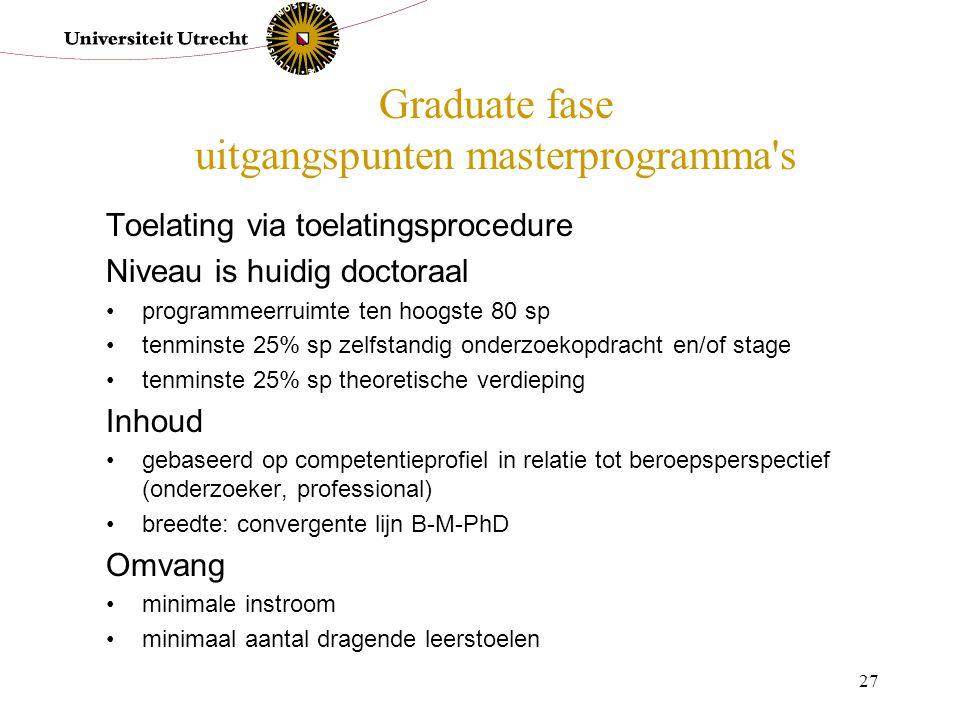Graduate fase uitgangspunten masterprogramma s