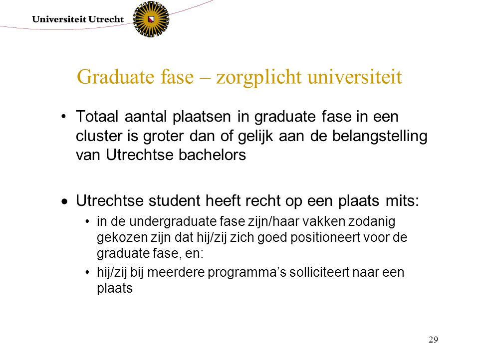 Graduate fase – zorgplicht universiteit