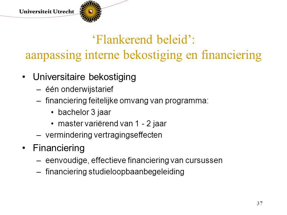 'Flankerend beleid': aanpassing interne bekostiging en financiering