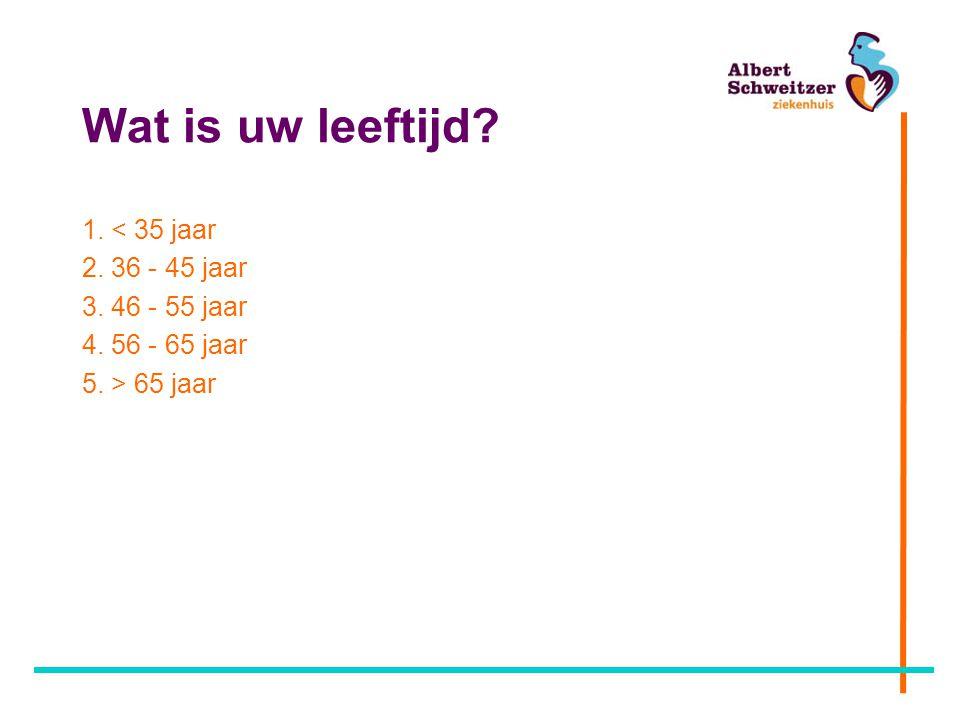 Wat is uw leeftijd 1. < 35 jaar 2. 36 - 45 jaar 3. 46 - 55 jaar