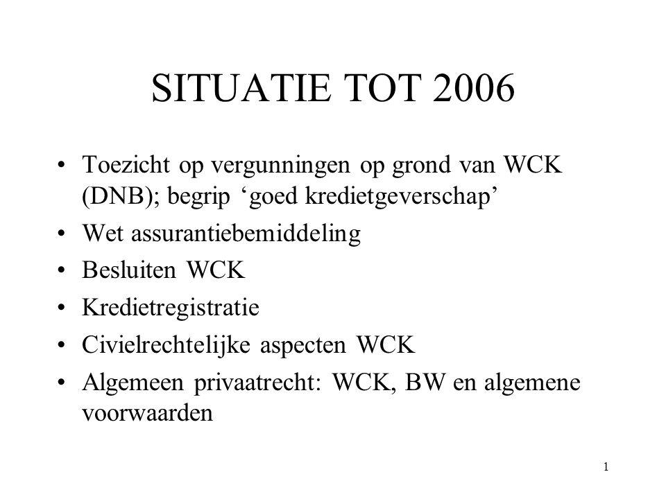 SITUATIE TOT 2006 Toezicht op vergunningen op grond van WCK (DNB); begrip 'goed kredietgeverschap' Wet assurantiebemiddeling.