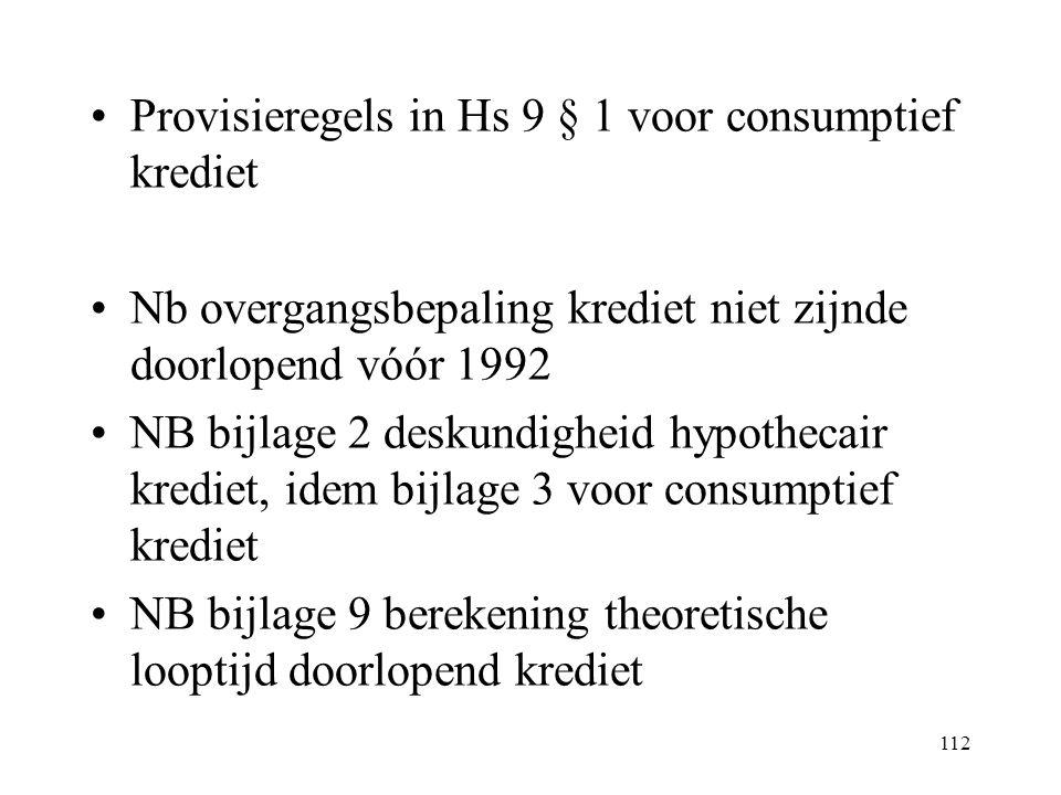 Provisieregels in Hs 9 § 1 voor consumptief krediet