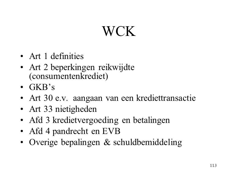 WCK Art 1 definities Art 2 beperkingen reikwijdte (consumentenkrediet)