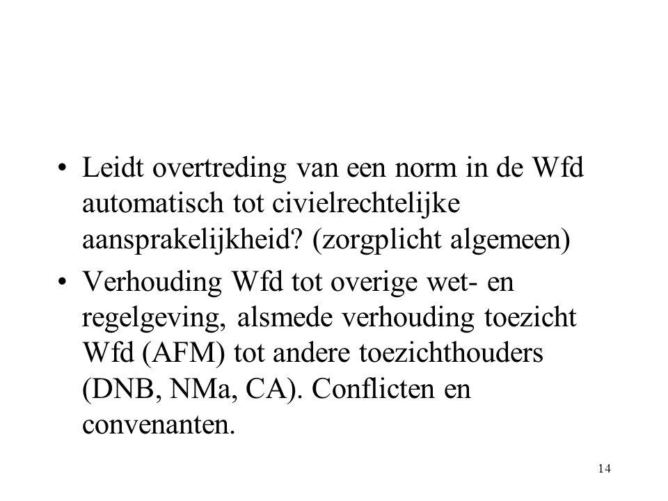 Leidt overtreding van een norm in de Wfd automatisch tot civielrechtelijke aansprakelijkheid (zorgplicht algemeen)