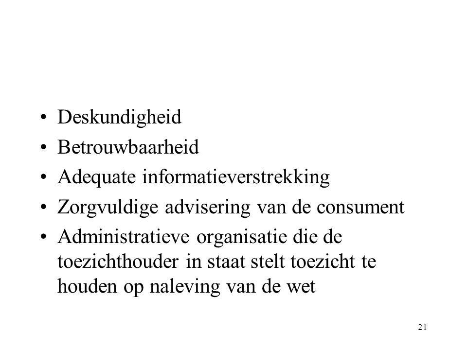 Deskundigheid Betrouwbaarheid. Adequate informatieverstrekking. Zorgvuldige advisering van de consument.