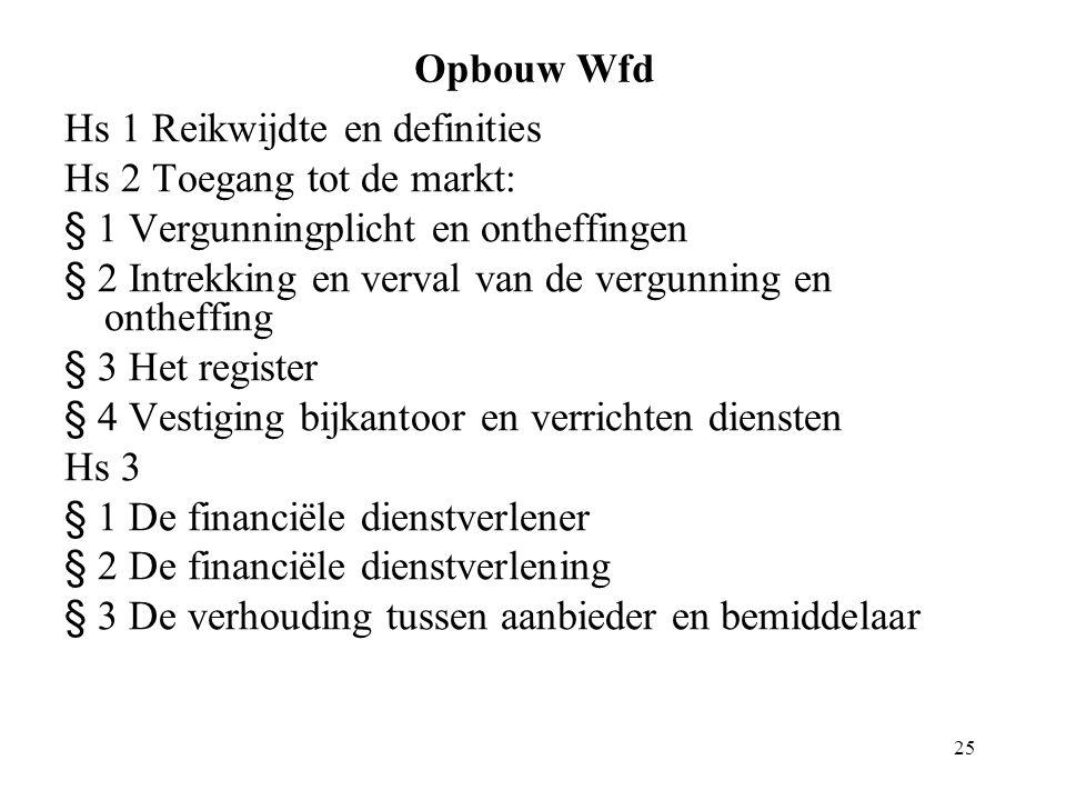 Opbouw Wfd Hs 1 Reikwijdte en definities. Hs 2 Toegang tot de markt: § 1 Vergunningplicht en ontheffingen.
