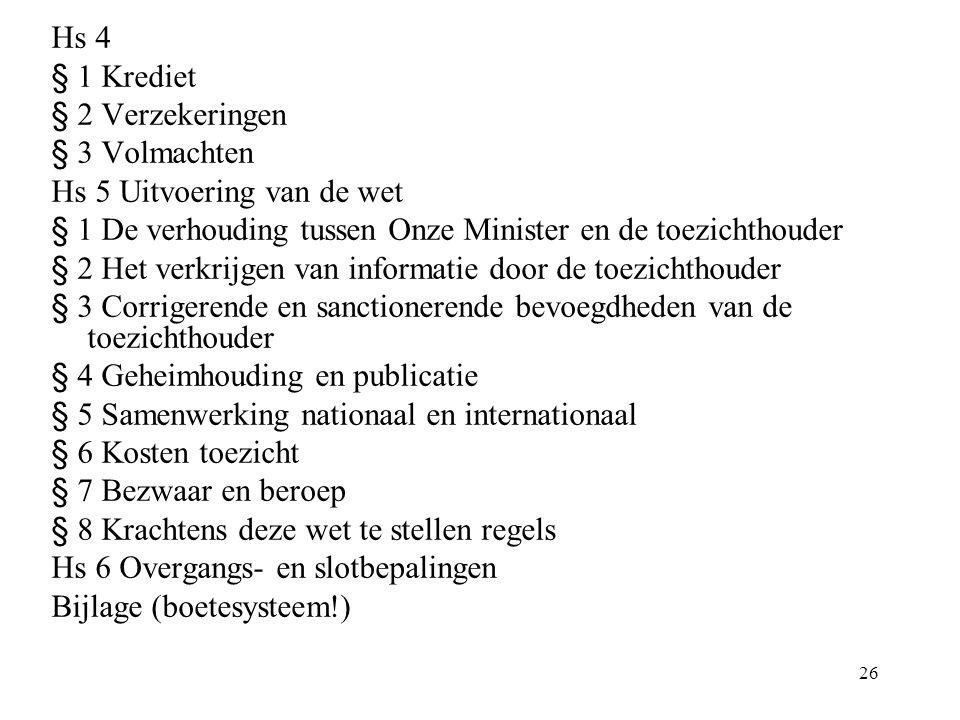 Hs 4 § 1 Krediet. § 2 Verzekeringen. § 3 Volmachten. Hs 5 Uitvoering van de wet. § 1 De verhouding tussen Onze Minister en de toezichthouder.