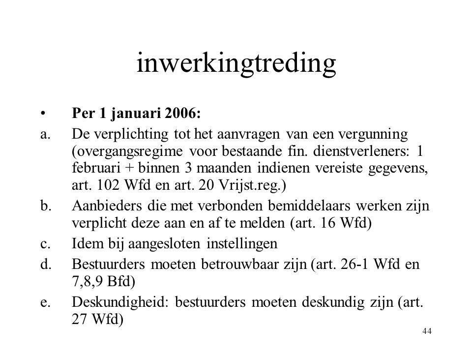 inwerkingtreding Per 1 januari 2006: