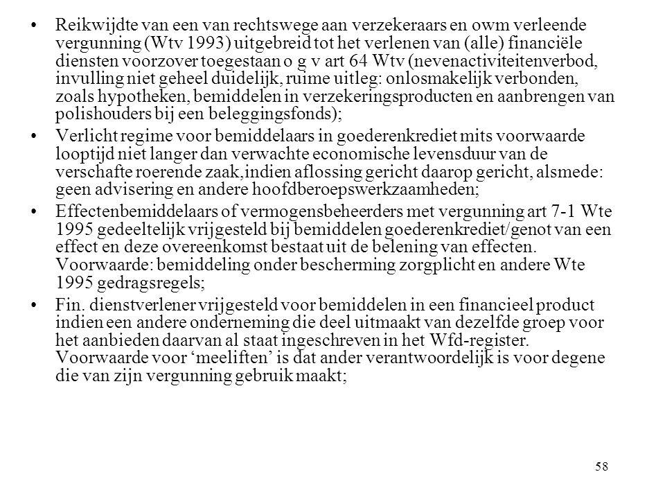 Reikwijdte van een van rechtswege aan verzekeraars en owm verleende vergunning (Wtv 1993) uitgebreid tot het verlenen van (alle) financiële diensten voorzover toegestaan o g v art 64 Wtv (nevenactiviteitenverbod, invulling niet geheel duidelijk, ruime uitleg: onlosmakelijk verbonden, zoals hypotheken, bemiddelen in verzekeringsproducten en aanbrengen van polishouders bij een beleggingsfonds);