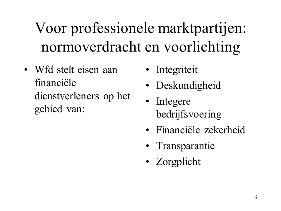 Voor professionele marktpartijen: normoverdracht en voorlichting