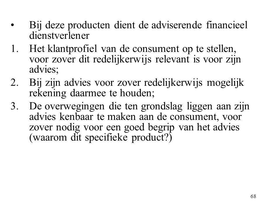 Bij deze producten dient de adviserende financieel dienstverlener